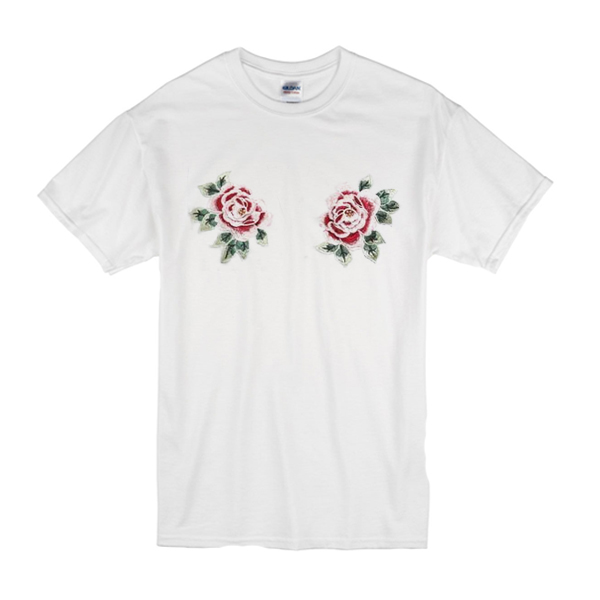 White T Shirt Roses Boobs Chest
