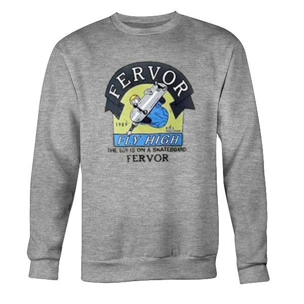 The Boy Is On A Skateboard Fervor Sweatshirt