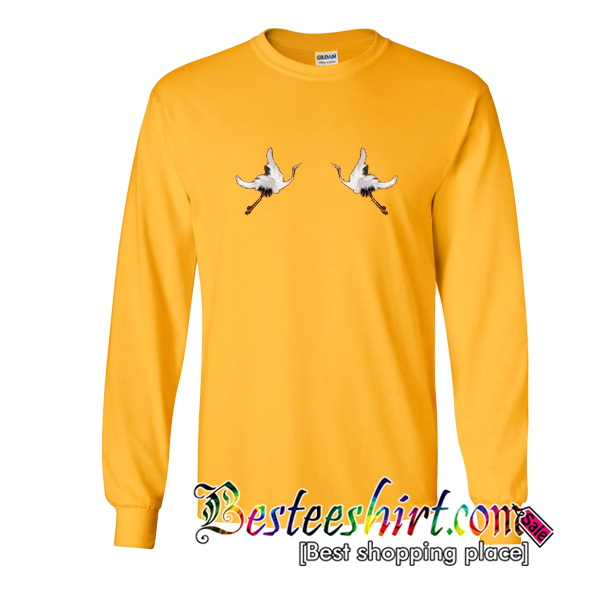 White Crane Brown Sweatshirt