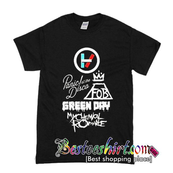 Twenty One Pilots Panic At The Disco Fall Out Boy Green Day Mychemical Romance T-Shirt