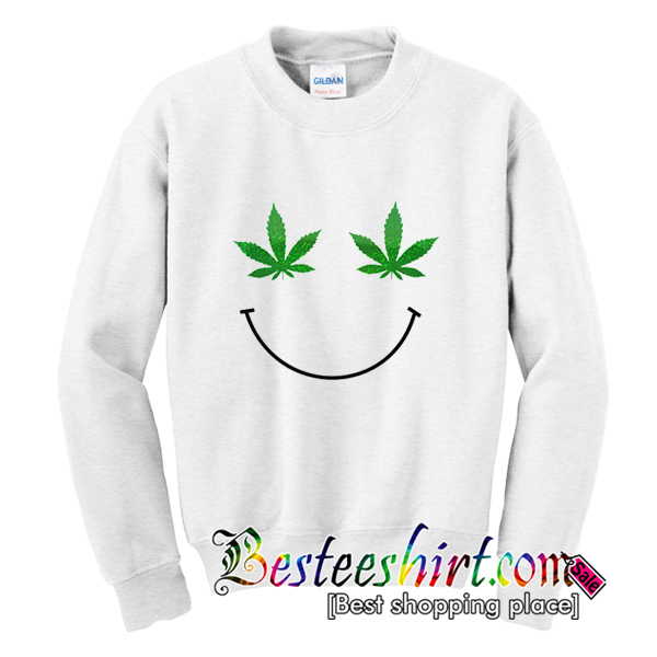 Weed Leaf Smiley Face Sweatshirt
