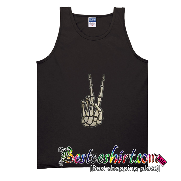 Skeleton Hand Peace Tank Top